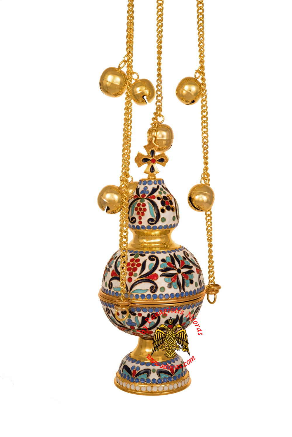 Ecclesiastical Orthodox Censer Russian Style A with Full Enamel Hand Made Gold Plated