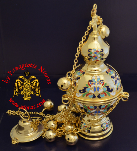 Russian Style B Church Censer Gold Plated with Enamel Motives
