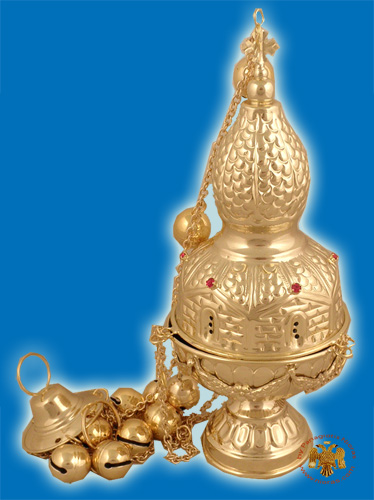 Russian Style D Church Censer Gold Plated