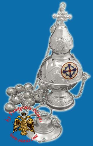 Russian Style B Silver Plated Church Censer with Enamel Cross
