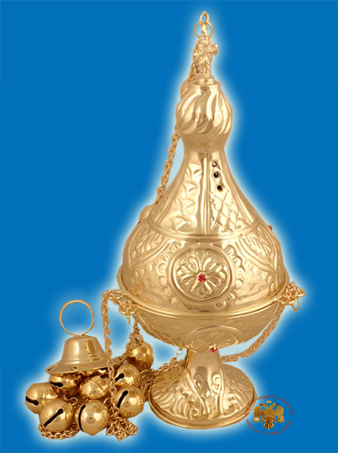 Russian Style C Church Censer Gold Plated