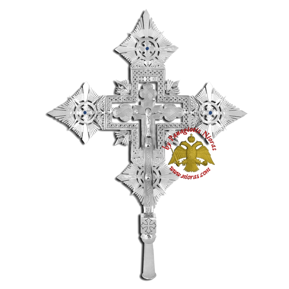 Ethiopian Coptic Exapterigon Cross Hand Made Nickel Plated with Blue Stones