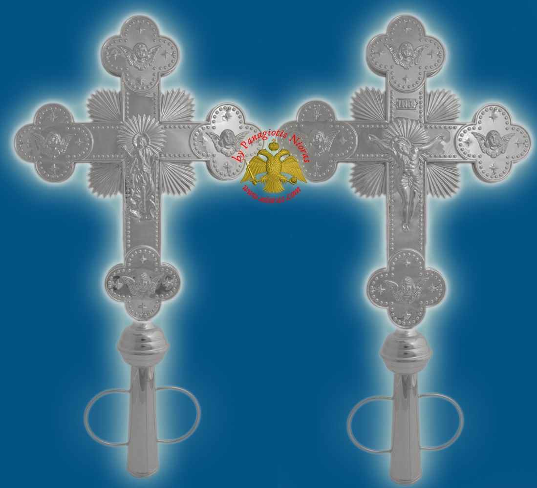 Ethiopian Coptic Orthodox Cross with Resurrection and Crucifixion Holy Images Nickel Plated