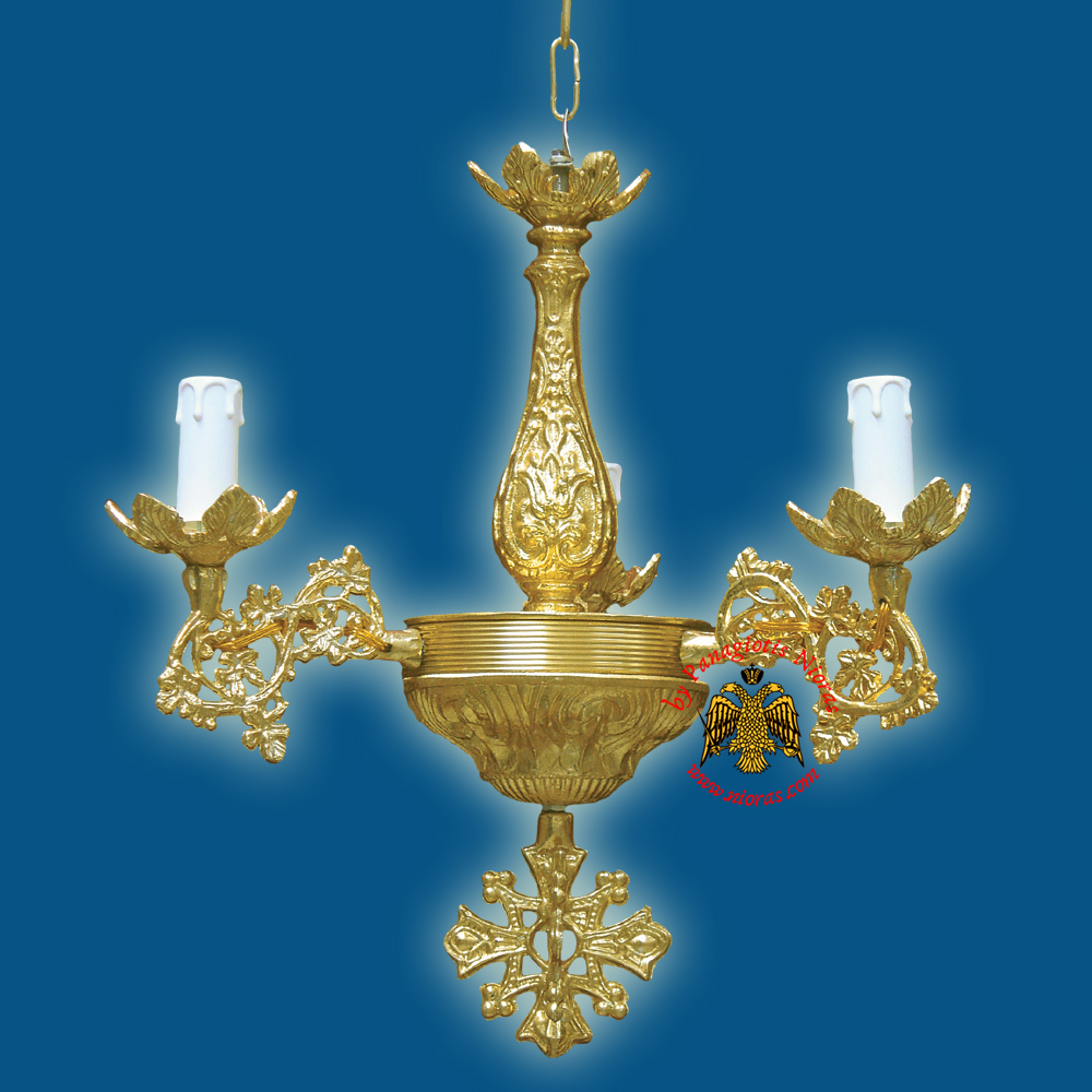Orthodox Church Chandelier for 3 Electric Lights