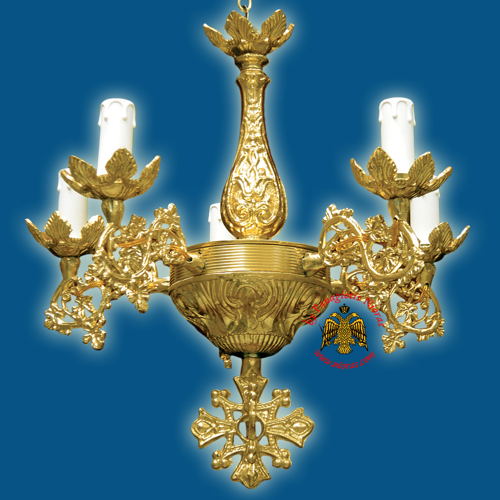 Orthodox Church Chandelier for 5 Electric Lights