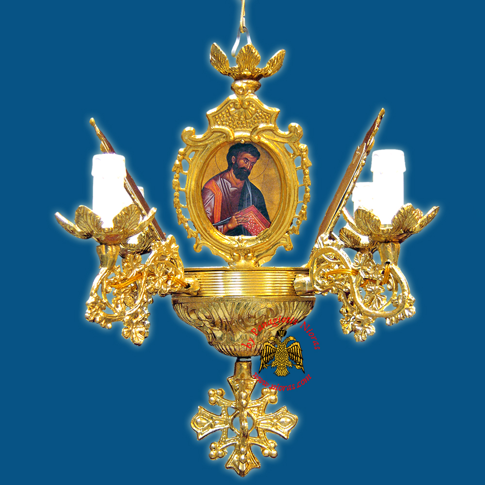 Church Chandelier Frames With Orthodox Icons 4 Electric Lights