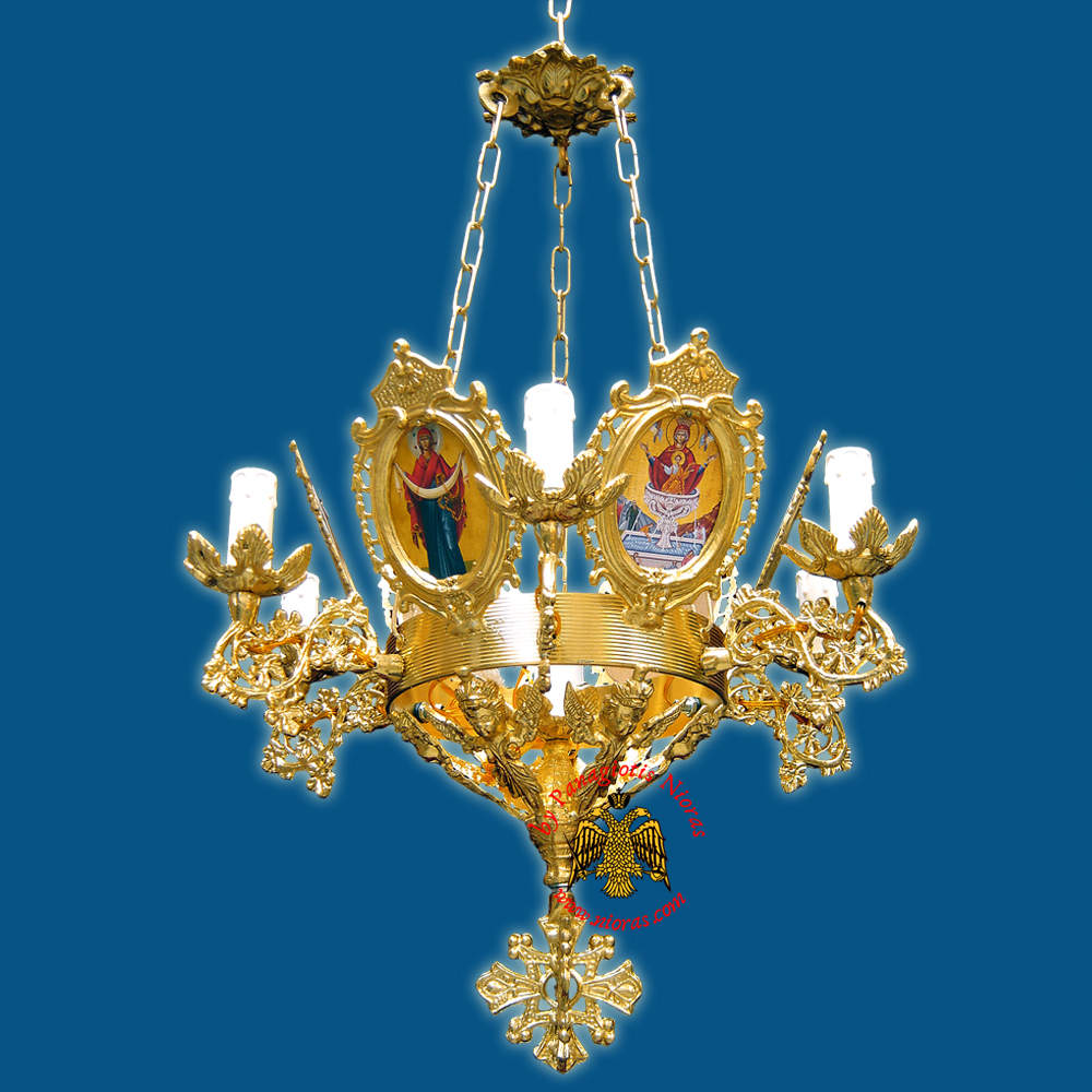 Church Chandelier Frames With Orthodox Icons 7 Electric Lights