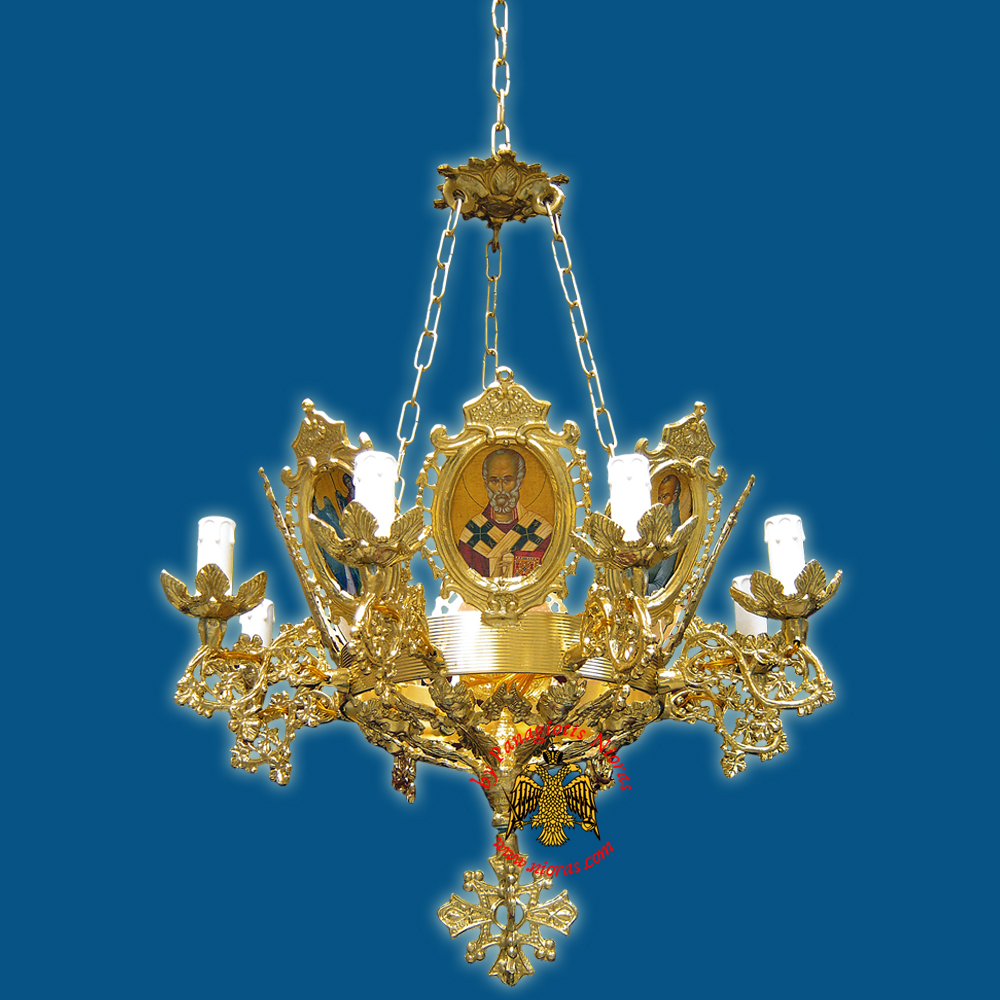Church Chandelier Frames With Orthodox Icons 9 Electric Lights