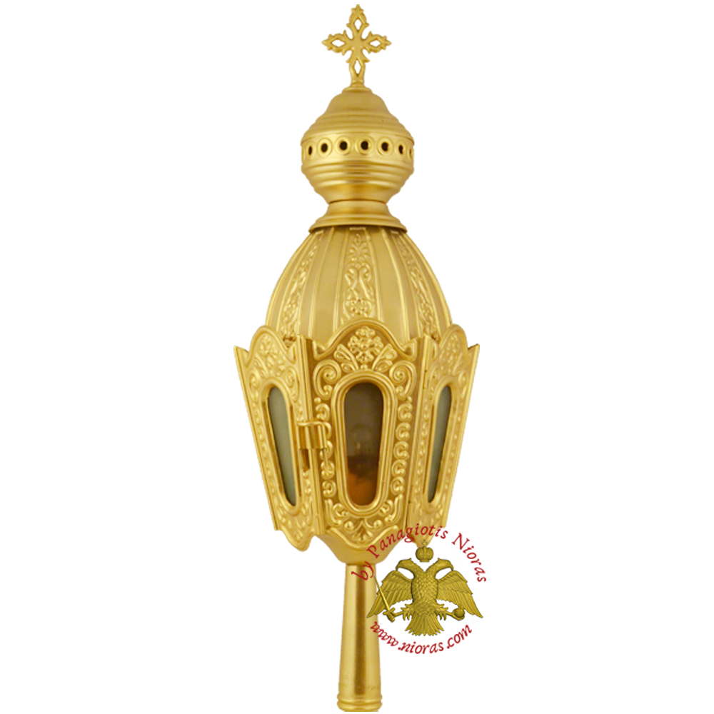 Orthodox Church Processional Lantern Hexagon Gold Plated 11x11x47cm