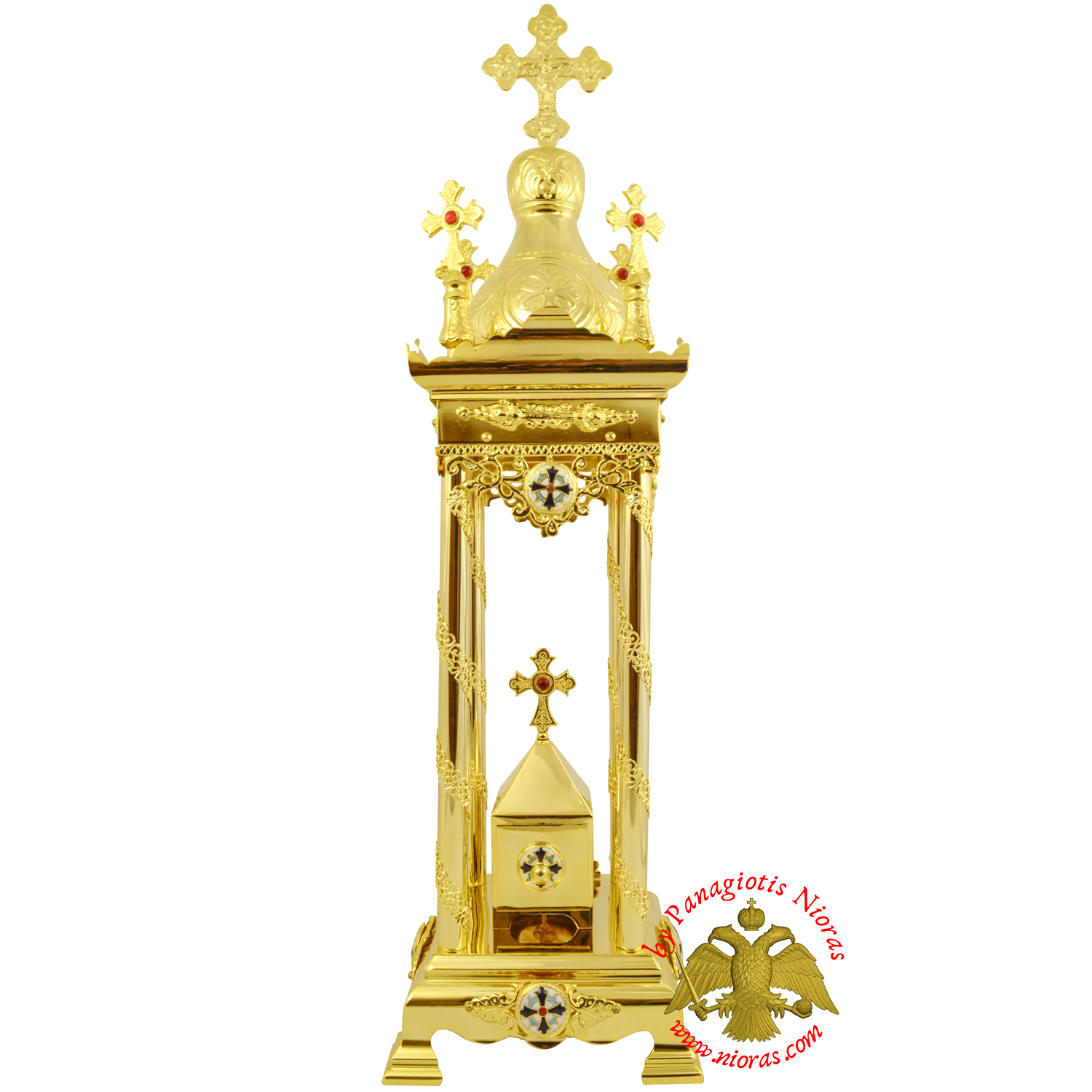 Holy Table Orthodox Tabernacle With Cross Enamel Decorations Gold Plated