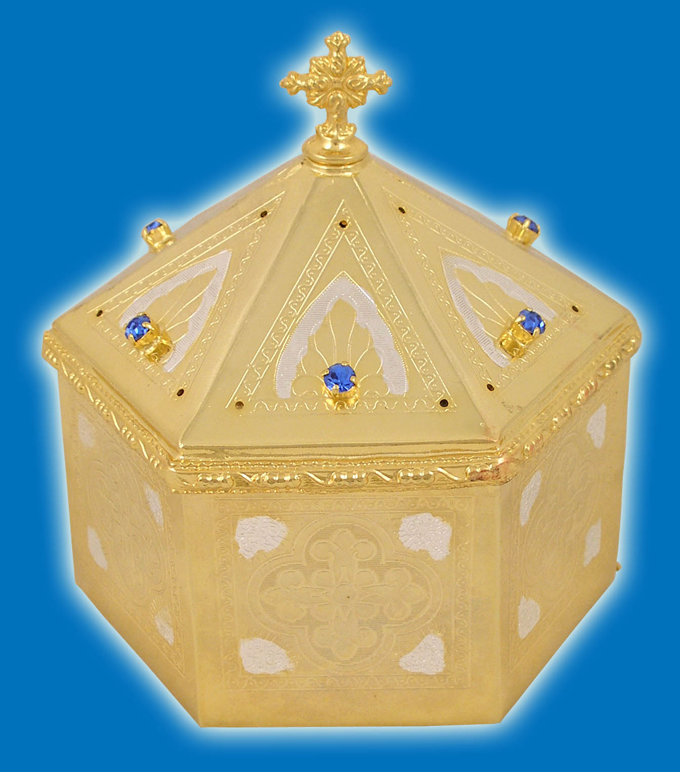 Reliquary or Relics Box - Tabernacle Hexagon Gold and Silver Plated