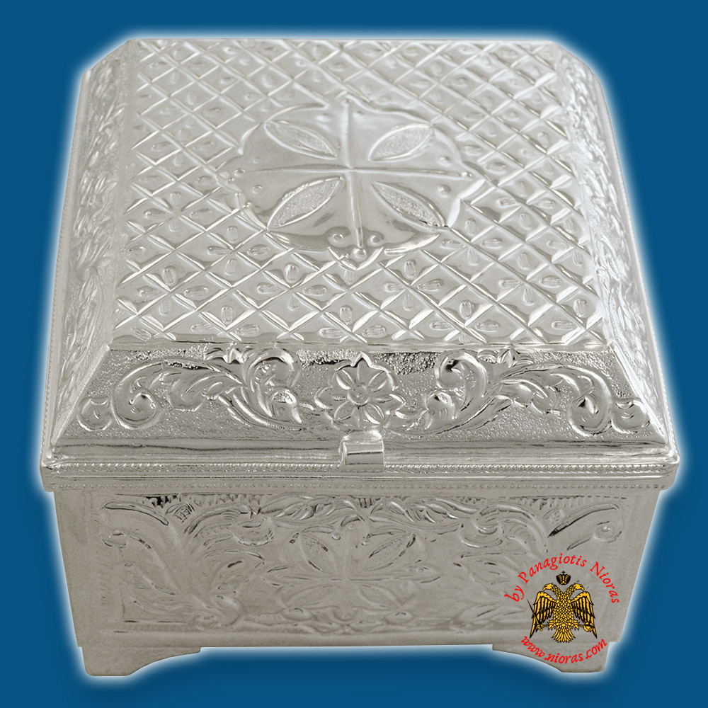 Reliquary square or Relics Box - Tabernacle Rectanqular Silver Plated With Orthodox Carved Crosses