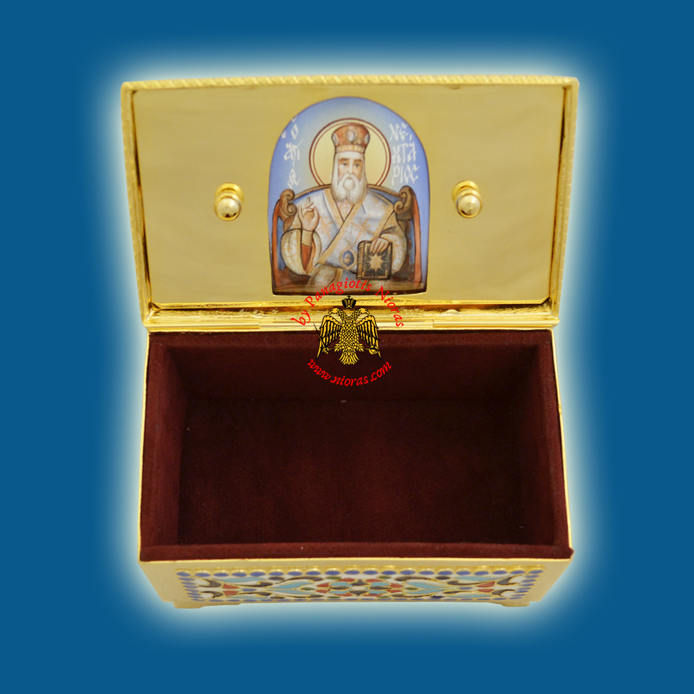 Reliquary or Relics Box - Tabernacle Β with Russian Porcelain Enamel Icon Gold Plated