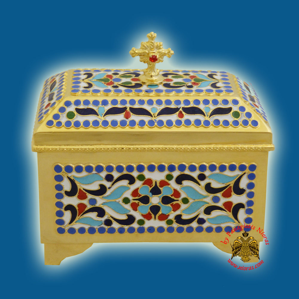 Reliquary or Relics Box - Tabernacle Β with enamel Gold Plated