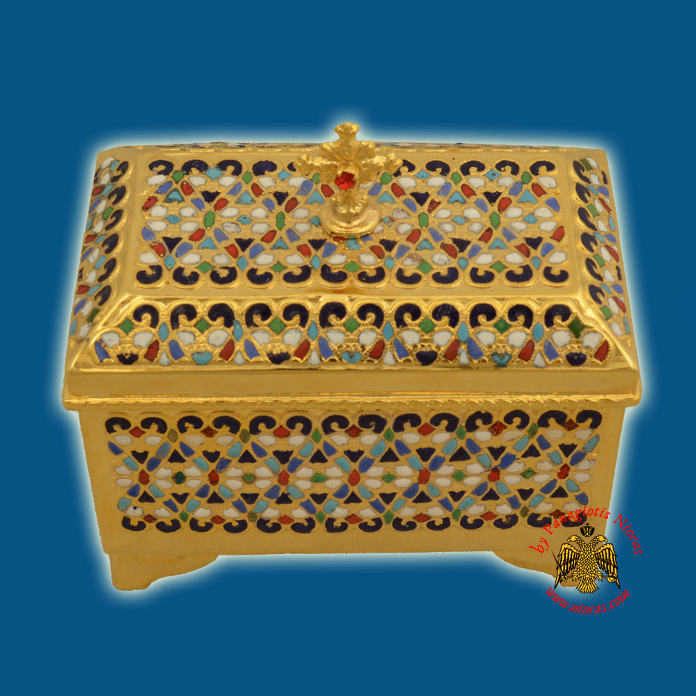 Reliquary or Relics Box - Tabernacle Pattern With Motives Enamel 12x7x12cm