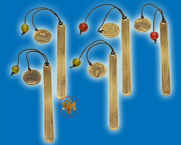 Bookmarks Touristic Greek Art Designs with Cord Pendants