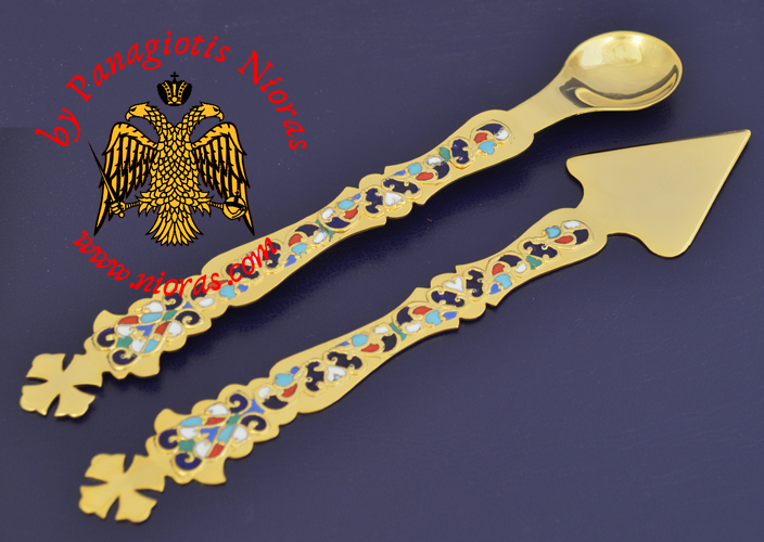 Extra Chalice Set Proskomidia Spear Lance and Holy Communion Spoon Gold Plated with Enamel Motives