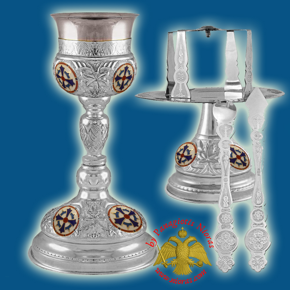 Ecclesiastical Chalice Set Holy Communion Cup 500ml with Enamels Silver Plated
