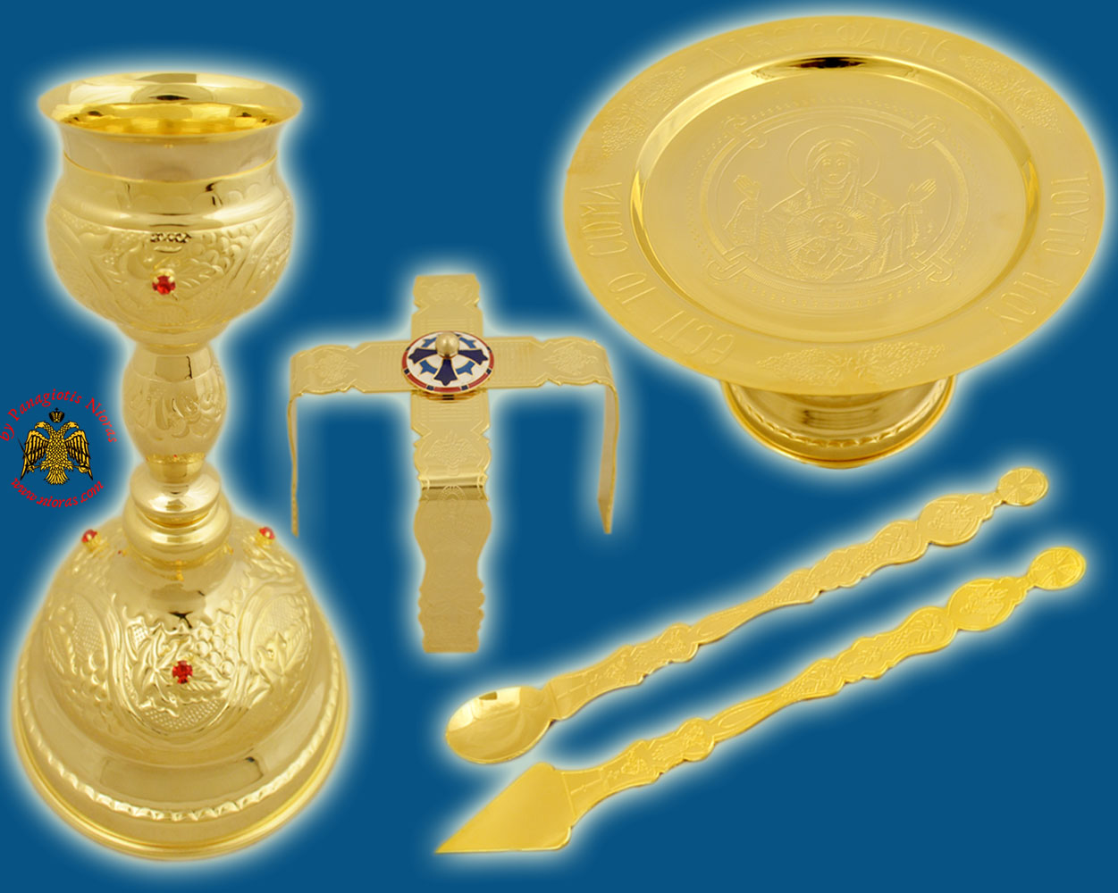 Byzantine Style Chalice Communion Cup Set with Red Stones A' Gold Plated Made in Greece