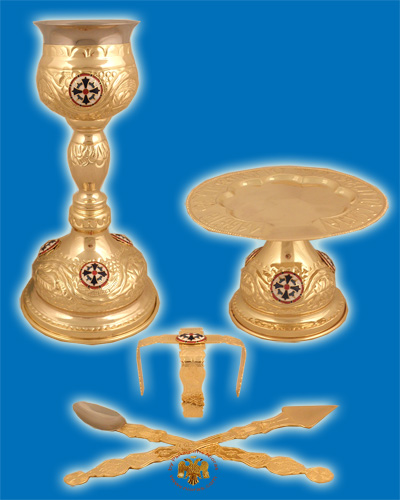 Byzantine Style Chalice Communion Cup Set with Enamel Gold Plated A'