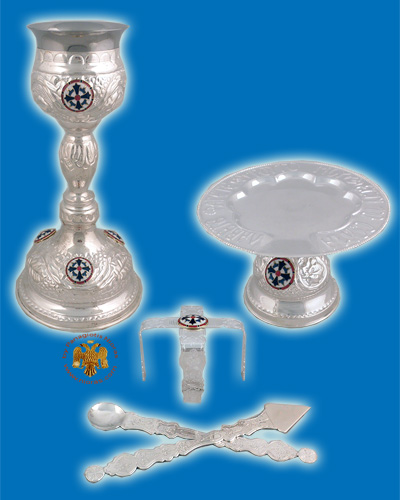 Ecclesiastical Chalice Set Holy Communion Cup 330ml with Enamels Silver Plated