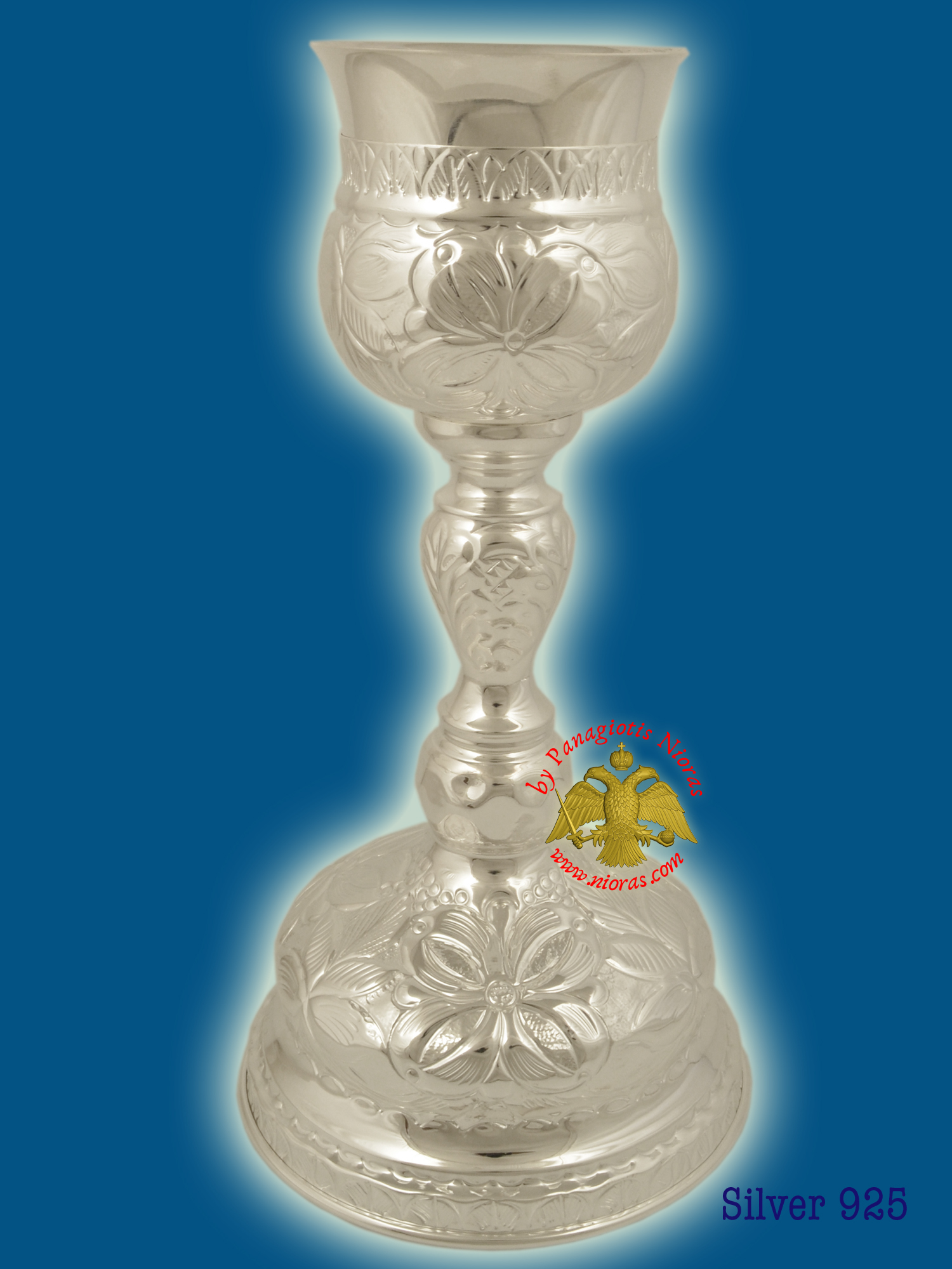 Byzantine Style Holy Communion Cup Set Silver Stelring 925 Hand Carved