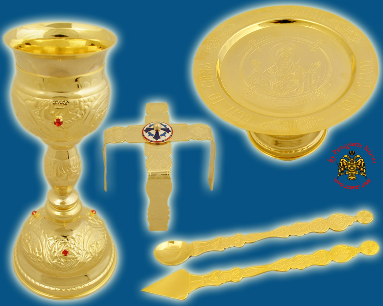 Byzantine Style Chalice Communion Cup Set with Red Stones B' Gold Plated Made in Greece