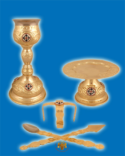 Byzantine Style Chalice Communion Cup Set with Enamel Gold Plated B'
