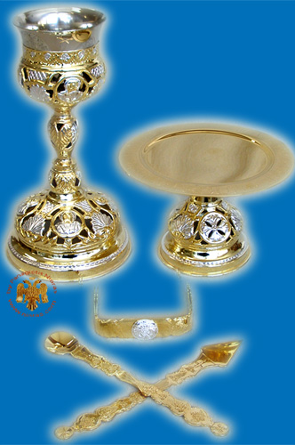 Chalice Set Byzantine Style With Saints A' Cut Gold & Silver Plated