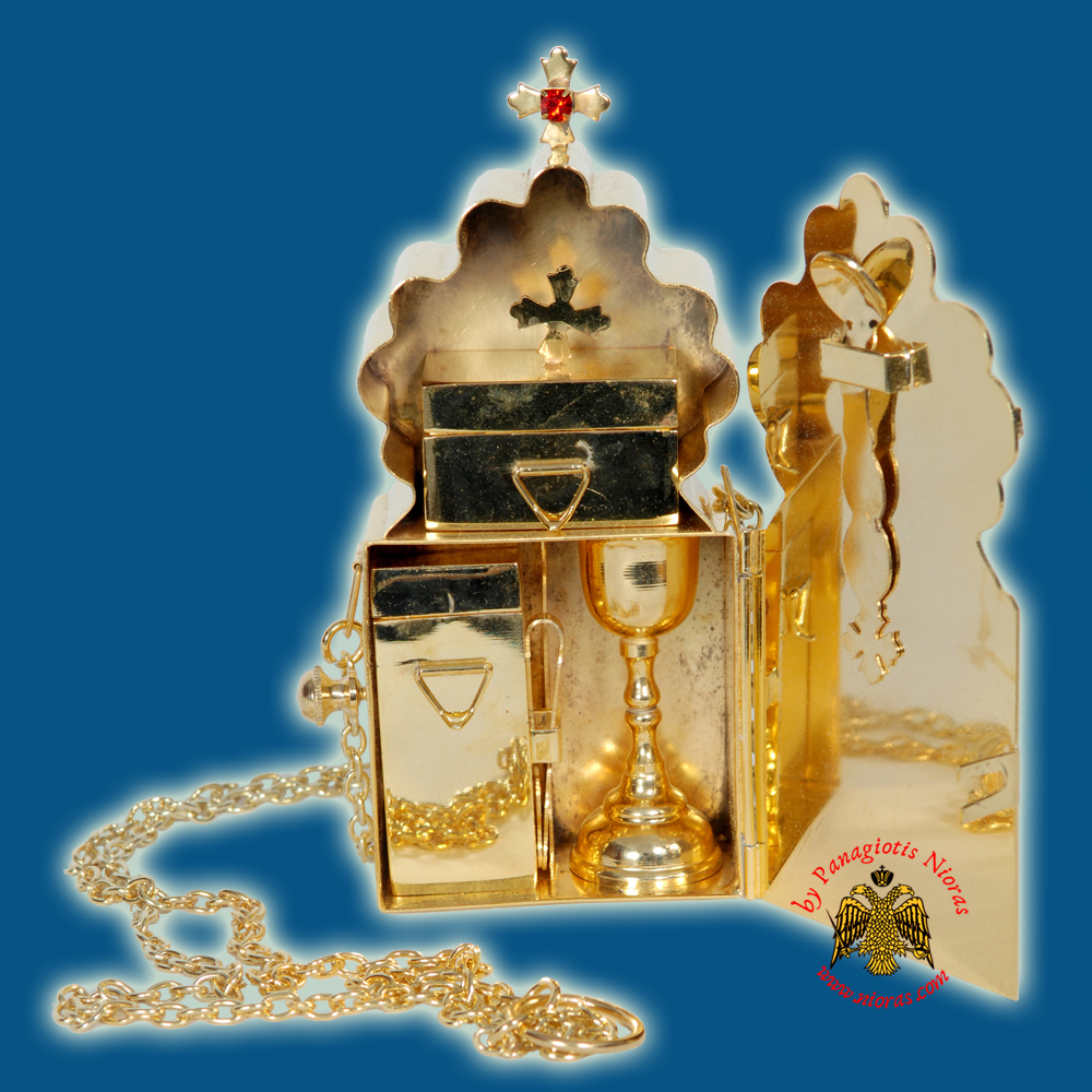 Orthodox Portable Chalice Set Hospital Kit Gold Plated