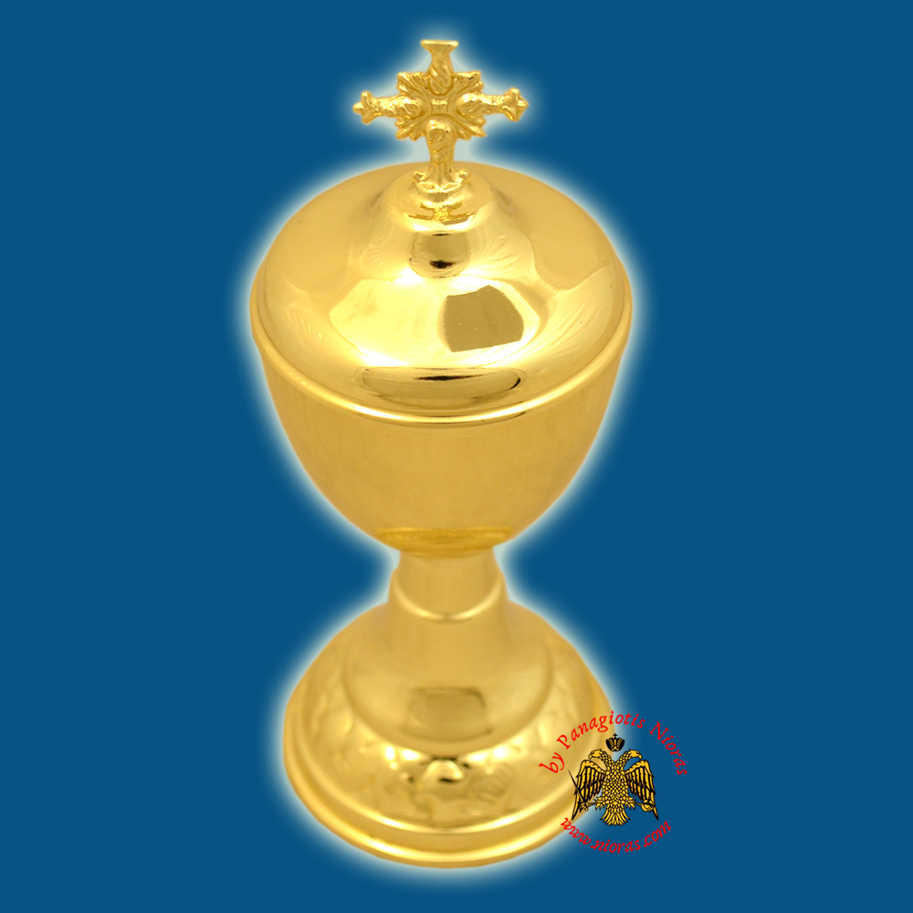 Orthodox Style Wedding Cup Gold Plated Metal Lid with Cross