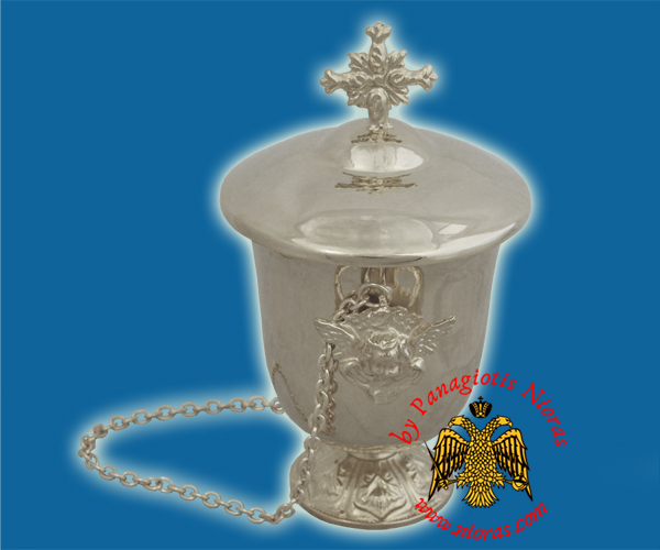 Holy Oil Blessing Container with Metal Chain for Hanging Nickel Platd