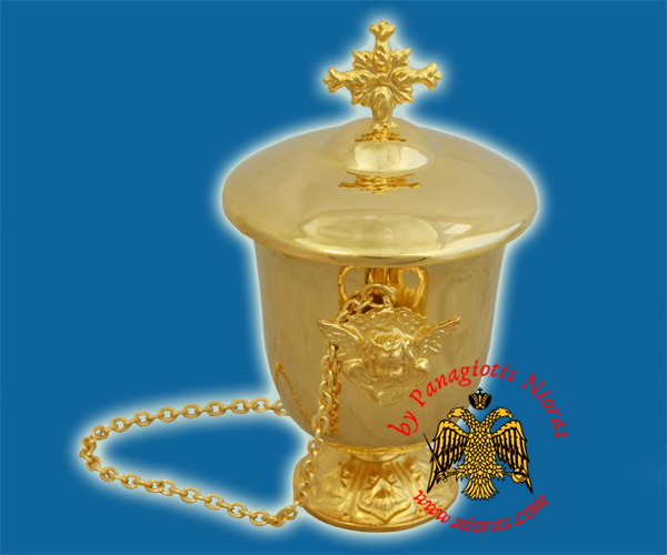 Holy Oil Blessing Container with Metal Chain for Hanging Gold Plated