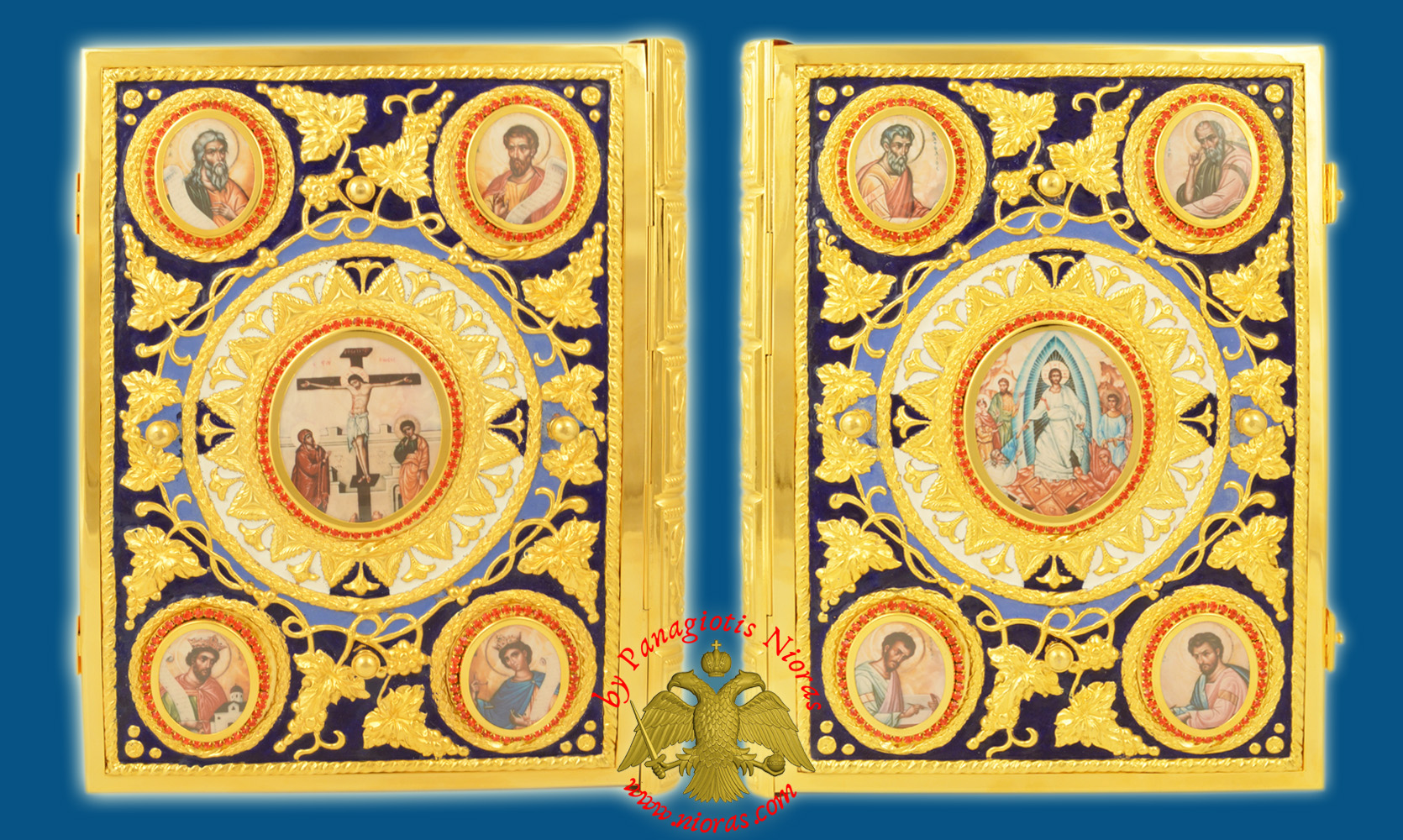 Gospel Cover Embossed Vine Design with Stones and Blue Enamel