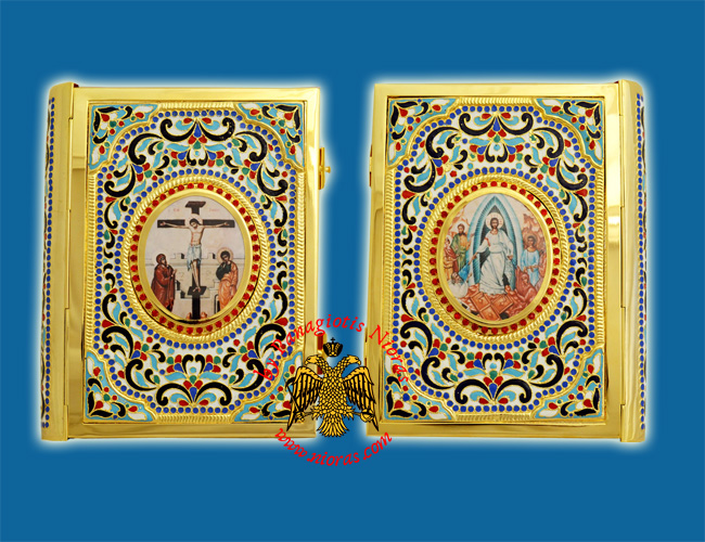Gospel Cover Gold Plated Enamel Design with Four Heavy Enamel Corners Medium Size