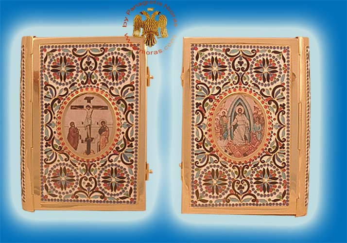 Embossed Orthodox Enamel Gospel Cover Gold Plated B 25x5x17cm