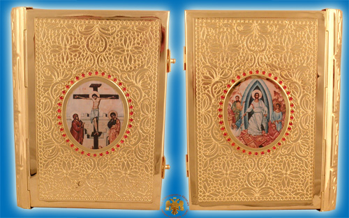 Embossed Orthodox Metal Gospel Cover Gold Plated B 25x5x17cm