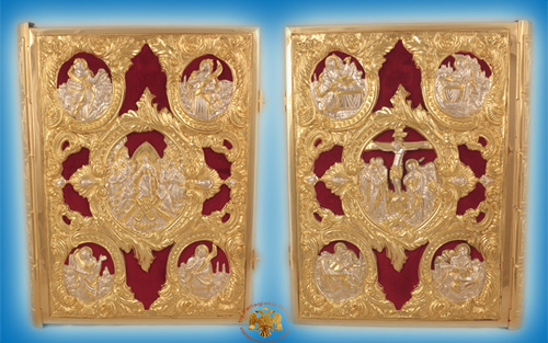 Embossed Gospel Cover Gold Plated And Silver Plated With Velvet