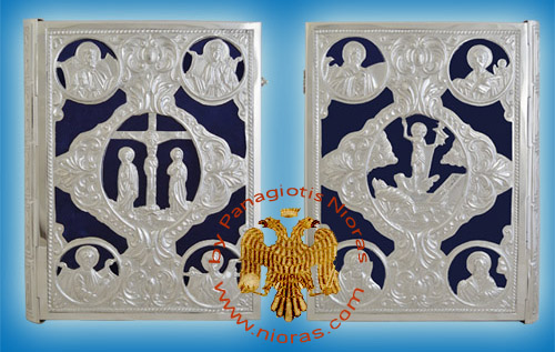 Embossed Sculptured Orthodox Gospel Cover A With Blue Velvet Silver 925 35x6x25cm