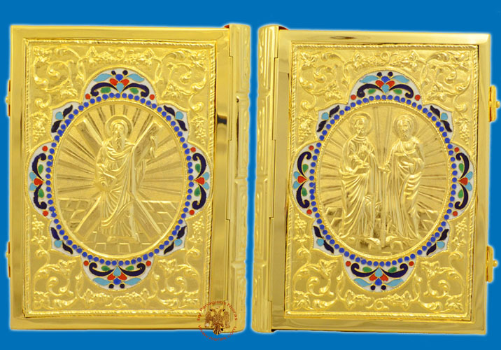 Holy Apostle Book Cover Gold Plated with Enamel Detailed Frame Sculptured