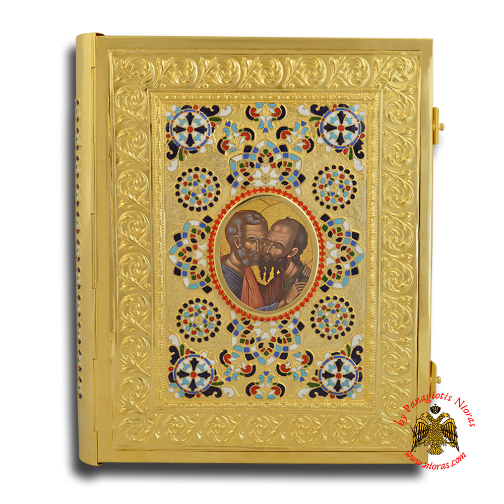 Holy Apostle Book Cover Sculptured with Enamel Figures Gold Plated With Frame 24x30x5cm
