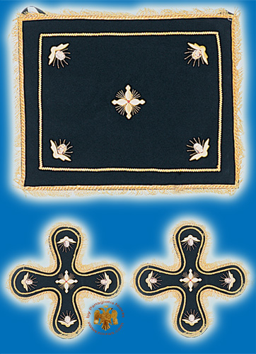 Velvet Cover Set with Angels Black