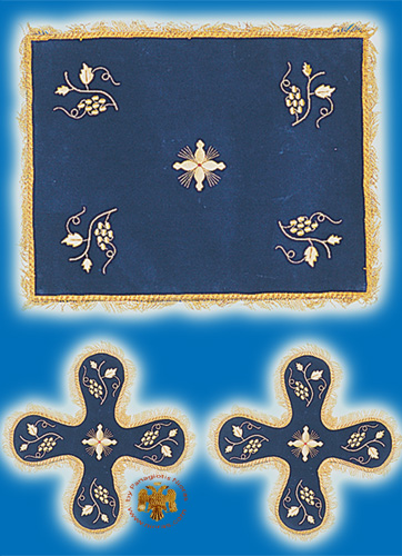 Velvet Cover Set with Vine Blue