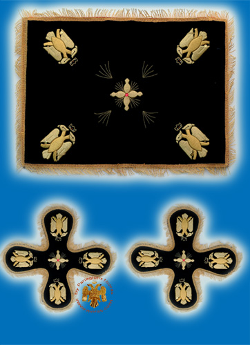 Velvet Cover Set with Byzantine Eagle Black