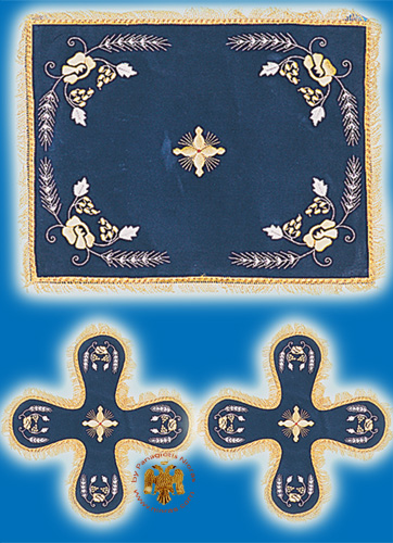 Velvet Cover Set with Flower Blue