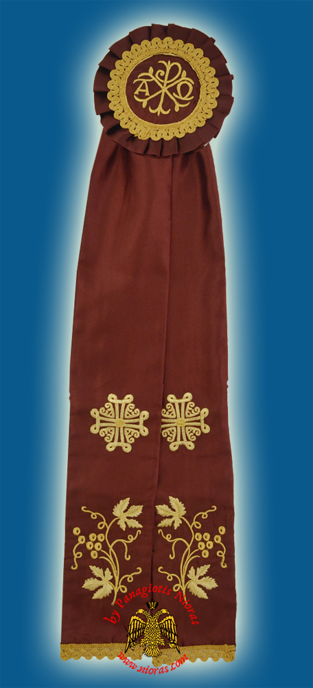 Ecclesiastical Ribbon Badge for Church Decoration 20x100cm Burgundy