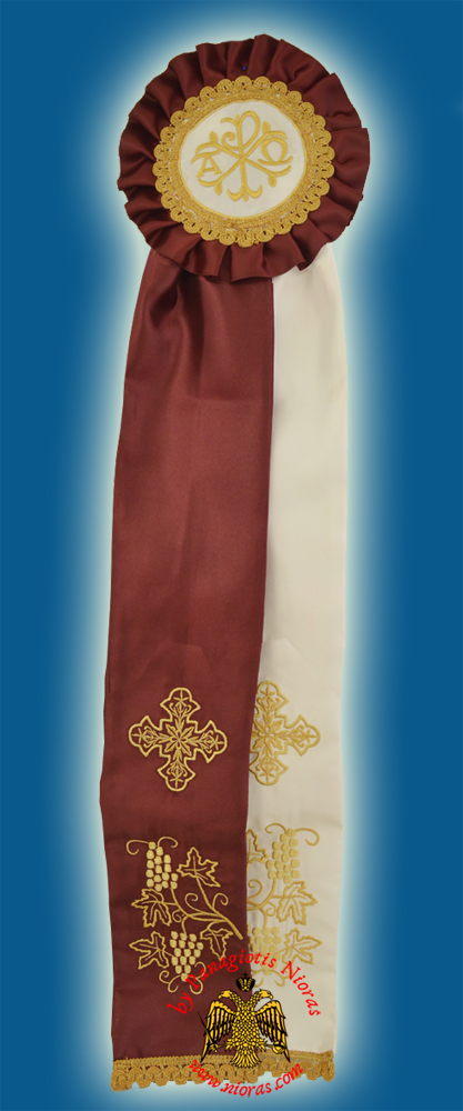 Ecclesiastical Ribbon Badge for Church Decoration 20x100cm Burgundy White
