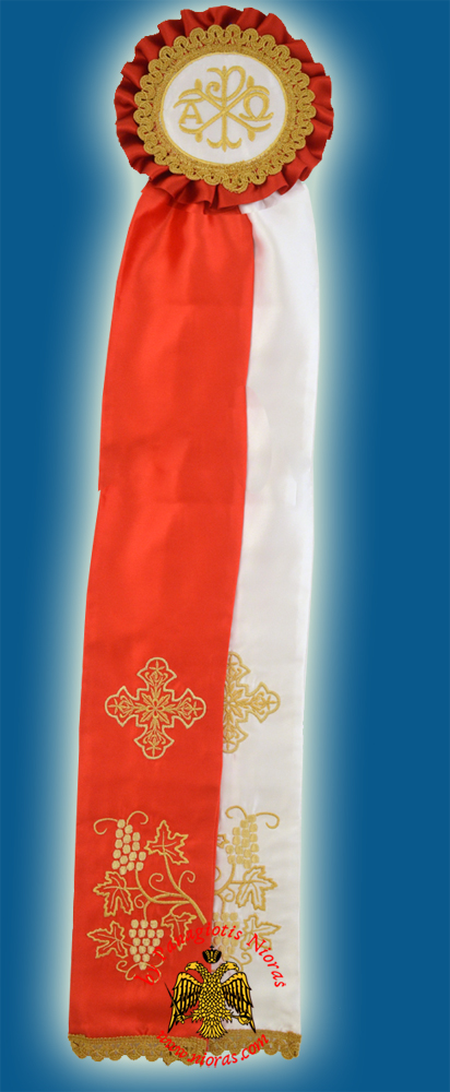 Ecclesiastical Ribbon Badge for Church Decoration 20x100cm Red White