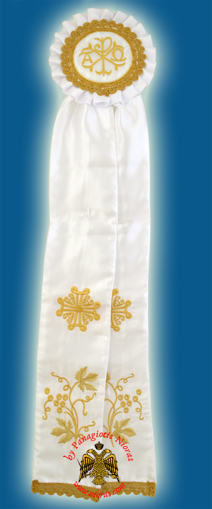 Ecclesiastical Ribbon Badge for Church Decoration 20x100cm White