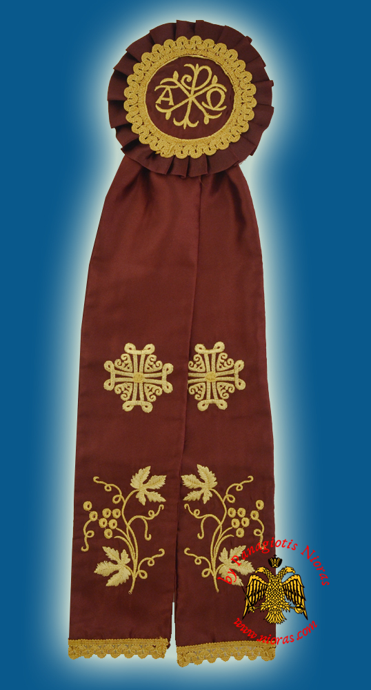 Ecclesiastical Ribbon Badge for Church Decoration 17x60cm Burgundy